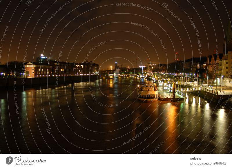Weser Bremen Nacht Licht Wasserfahrzeug Promenade Anlegestelle Hafen Langzeitbelichtung