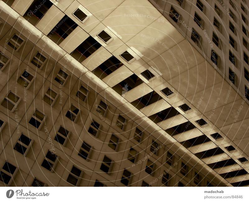 STUDENTENWOHNHEIM Haus Hochhaus Gebäude Material Gleichgültigkeit Studentenwohnheim Fenster live Block Beton Etage trist dunkel Leidenschaft Spiegel Vermieter