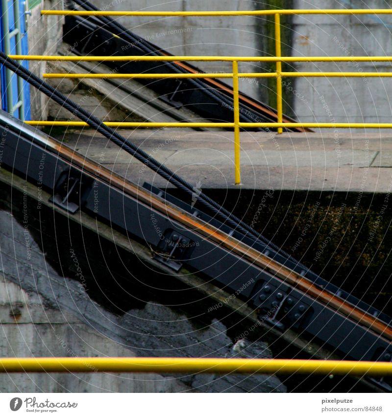 aufgeteilt || oben füllen gelb Warnfarbe Muster Maschine quer Schleuse Gewässer Wasserfahrzeug Eisen Stahl lackiert diagonal horizontal vertikal Richtung