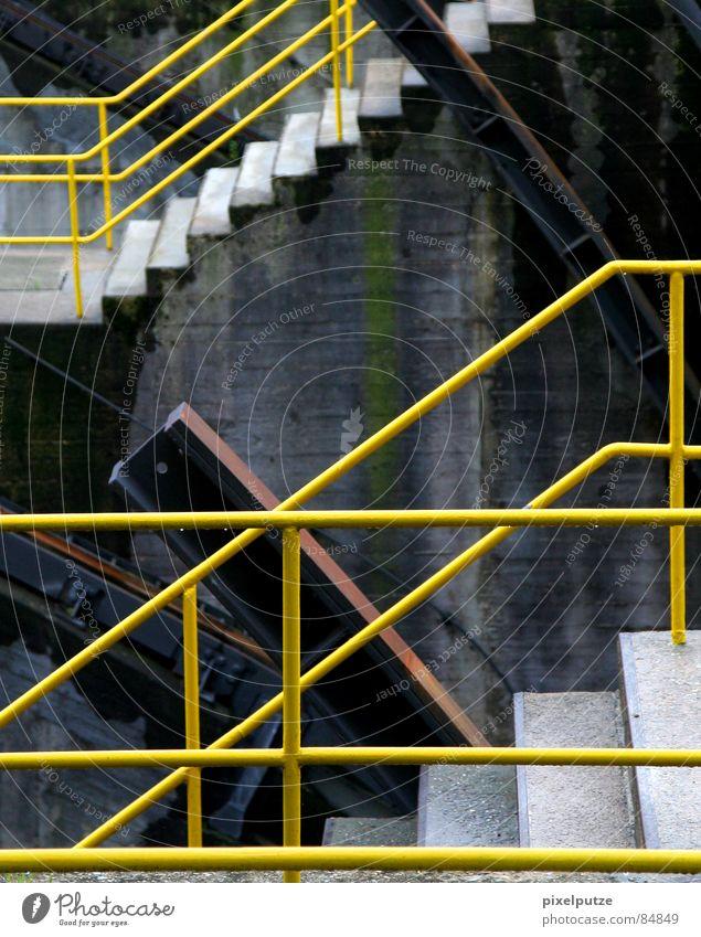 aufgeteilt ||| oben füllen gelb Warnfarbe Muster Maschine quer Schleuse Gewässer Wasserfahrzeug Eisen Stahl lackiert diagonal horizontal vertikal Richtung