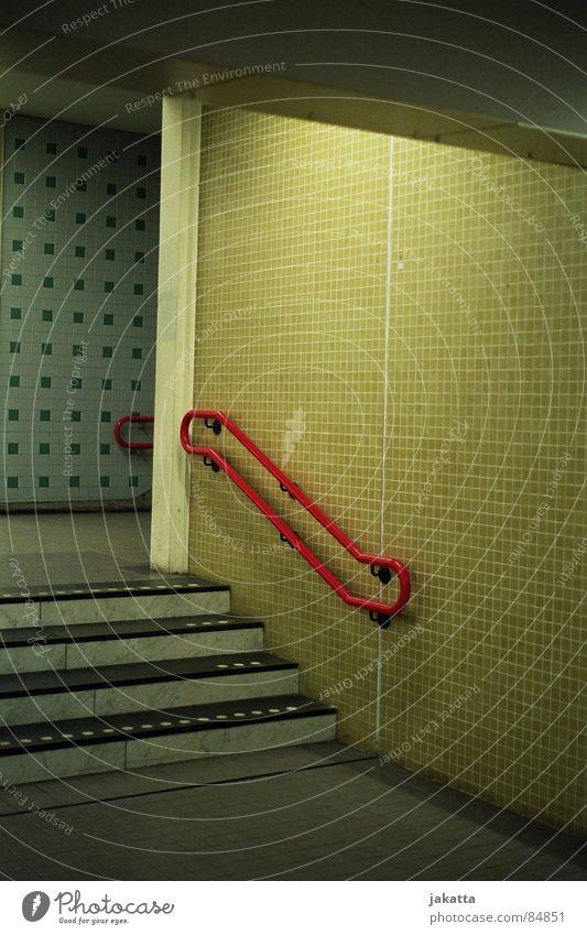 superficial stairs rot Einsamkeit Farbe Wege & Pfade leer Treppe retro offen Häusliches Leben Vergänglichkeit Unendlichkeit Fliesen u. Kacheln verfallen Station