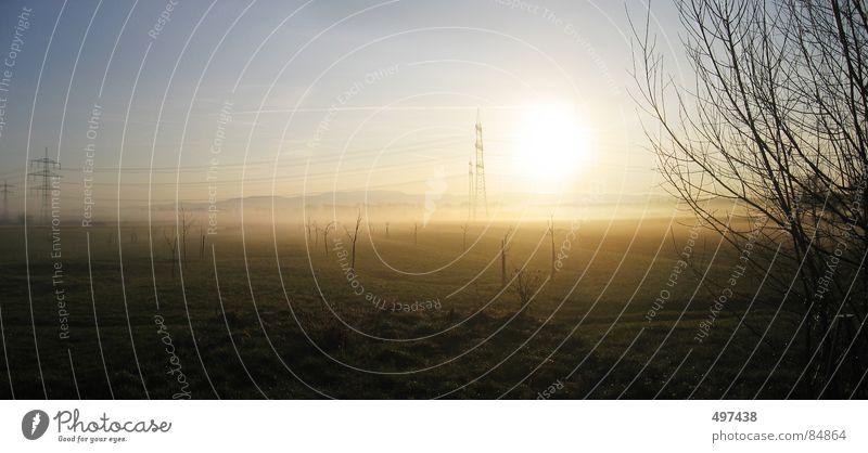 07:00 uhr Sonne Landschaft Nebel Sträucher Strommast Schwarzwald Hornisgrinde