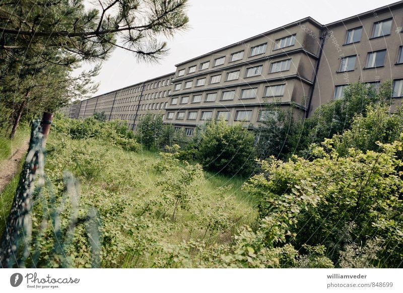 Seeseite eines Blocks des Prora-Komplexes Ferien & Urlaub & Reisen grün Sommer Meer Haus Strand Architektur grau braun Deutschland Tourismus Ausflug historisch