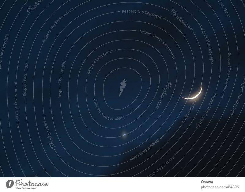 Mondsichel Himmel Wolken ruhig schlafen Frieden Mond Planet Himmelskörper & Weltall Firmament Himmelszelt Trabbi Venus Nacht Nachtruhe Halbmond Sichelmond