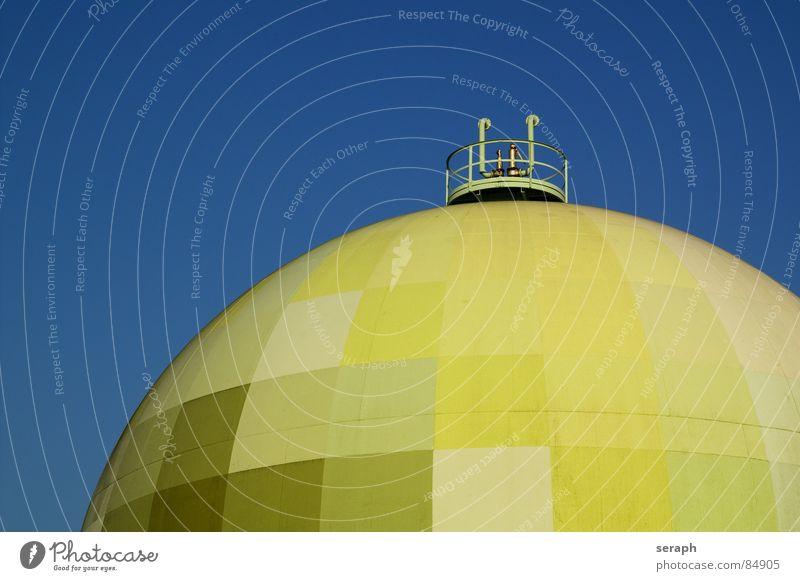 Gastank Umwelt Architektur modern Energiewirtschaft Industrie Bauwerk Kugel kariert Umweltschutz Erdöl Umweltverschmutzung Industrieanlage alternativ