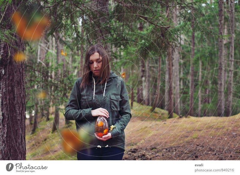 Träume sammeln Mensch Frau Jugendliche grün Junge Frau Blume Wald Erwachsene feminin träumen orange Sammlung Surrealismus