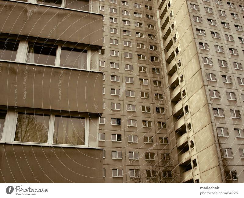 STUDENTENBATTERIE Haus Hochhaus Gebäude Material Gleichgültigkeit Studentenwohnheim Fenster live Block Beton Etage trist dunkel Leidenschaft Spiegel Vermieter
