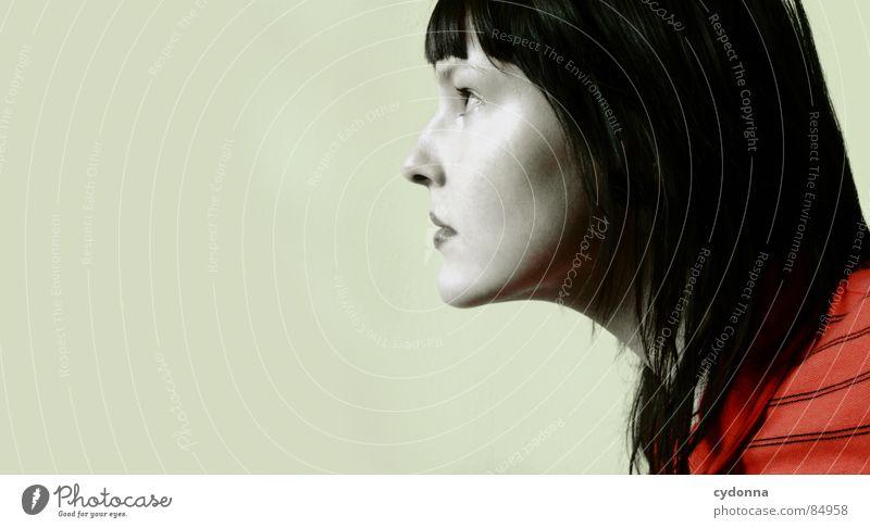 Farbe bekennen VI Stil Coolness Gefühle beige rot Haare & Frisuren entdecken Erholung Plüsch mehrfarbig Pornographie Neugier Frau Silhouette Profil Seite