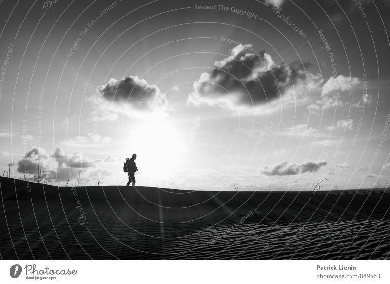 Gegenlicht Mensch Natur Ferien & Urlaub & Reisen Erholung Landschaft ruhig Strand Ferne Umwelt Wärme Freiheit Wetter Zufriedenheit Wind Tourismus wandern