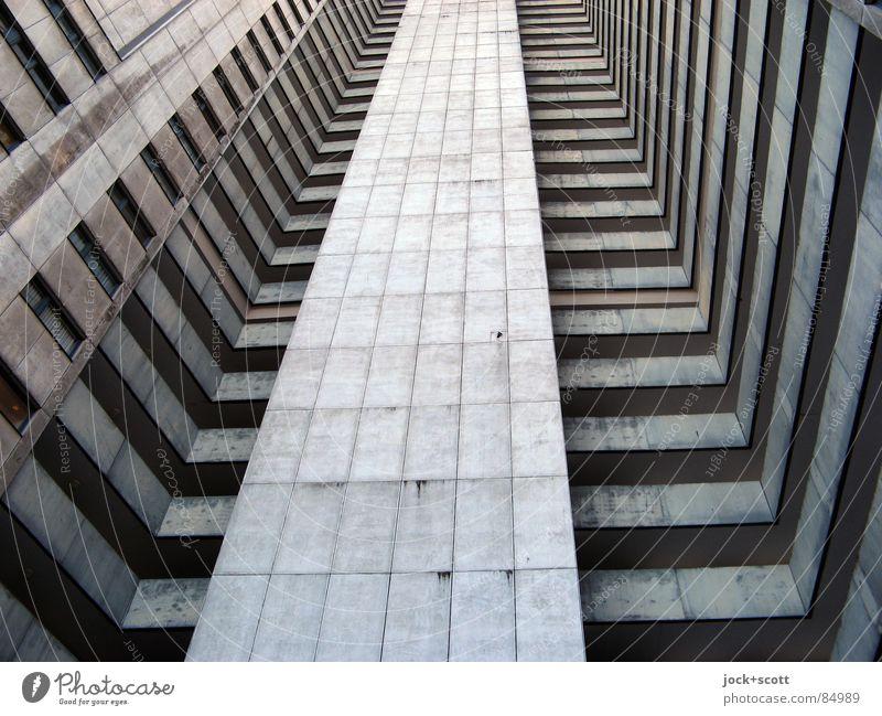 IDEAL 6 Stil Architektur Gropiusstadt Wohnhochhaus Fassade kalt modern trist grau Bauhaus U-Form Etage aufstrebend vertikal Block anonym Sechziger Jahre