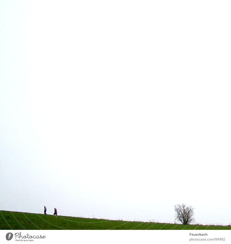 leichter Anstieg nach dem Warten auf Godot Mensch Himmel Winter Einsamkeit Wiese Herbst Berge u. Gebirge Gras Paar Landschaft 2 gehen wandern Horizont paarweise Sträucher