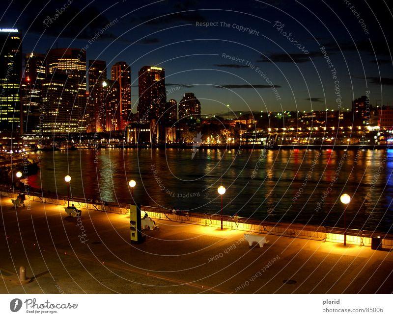 Sydney Skyline @n8 Australien dunkel Nacht Hochhaus hell-blau schlechtes Wetter bewohnt langsam fließen Gewässer Lampe Physik Bank New South Wales Erholung