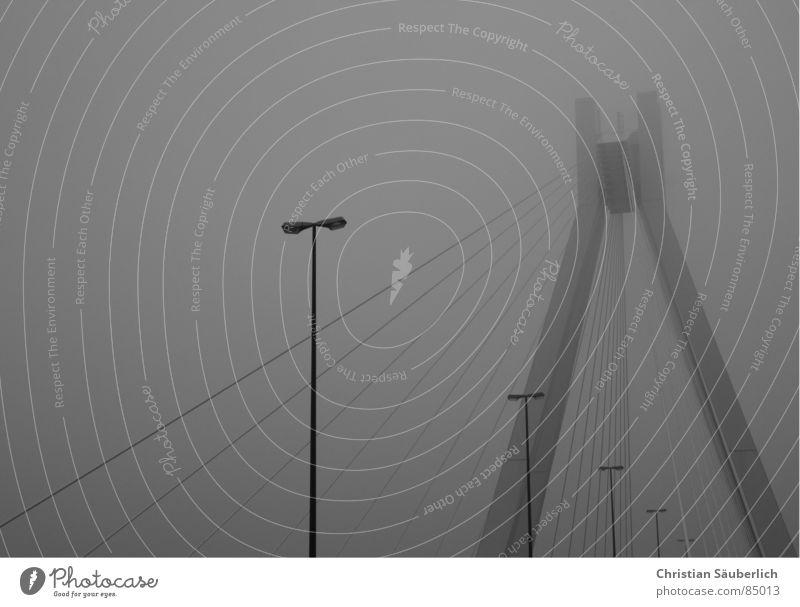 Brücke im Nebel Laterne Straßenbeleuchtung Ludwigshafen grau schlechtes Wetter überspannt Nervosität B&W Schwarzweißfoto Pylon