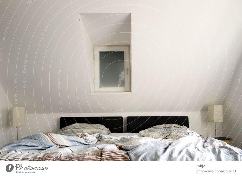 *snrch* Lifestyle Stil Häusliches Leben Wohnung Innenarchitektur Bett Raum Schlafzimmer Doppelbett Menschenleer Fenster Nachttisch Lampe Bettwäsche modern