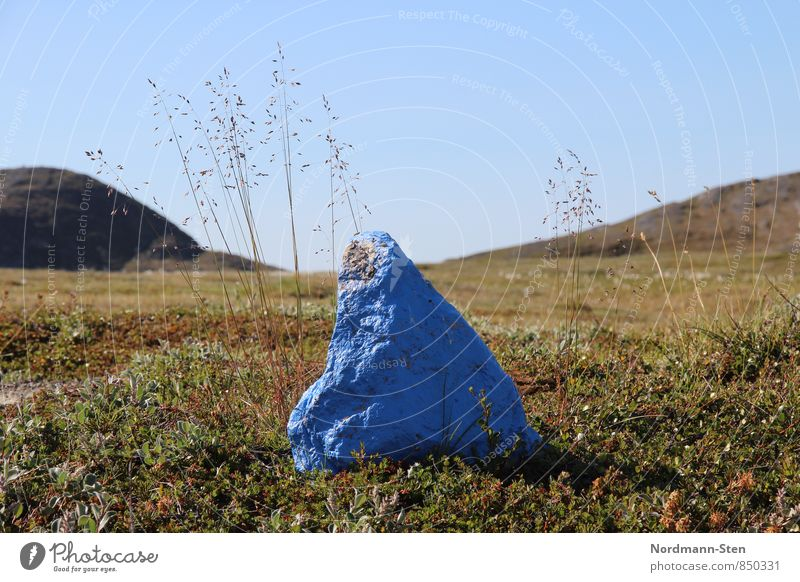 Stein, blau wandern Wolkenloser Himmel Gras Hügel Tundra Schilder & Markierungen Einsamkeit Farbfoto Außenaufnahme Menschenleer Schwache Tiefenschärfe