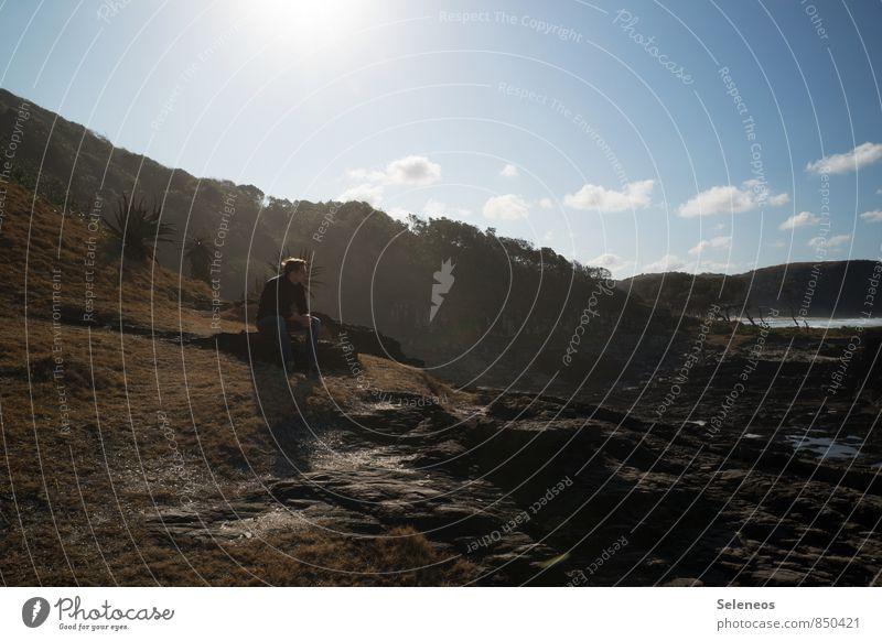 Lebensraum Mensch Himmel Natur Ferien & Urlaub & Reisen Mann Sommer Meer Landschaft Wolken Ferne Umwelt Erwachsene Küste natürlich Freiheit maskulin