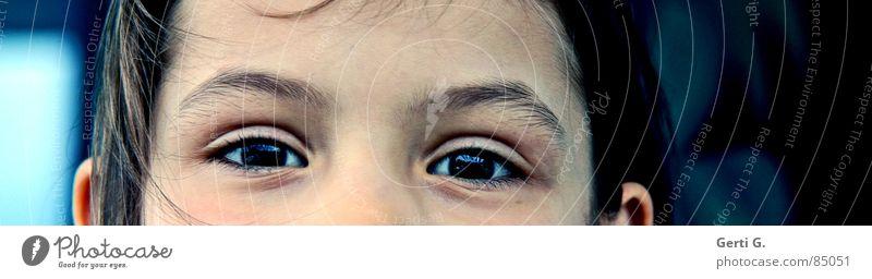 Augenblick mal Porträt Stirn Kind Mensch Blick Freude Frieden stirnpartie teilportrait augenpartie teilporträt eyes Gesicht face Schulkind Perspektive