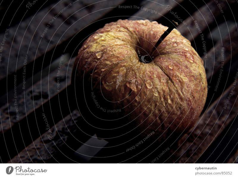 schrumpeliger Apfel im Regen Herbst Frucht Gewitter Holztisch Herbstfärbung verschrumpelt