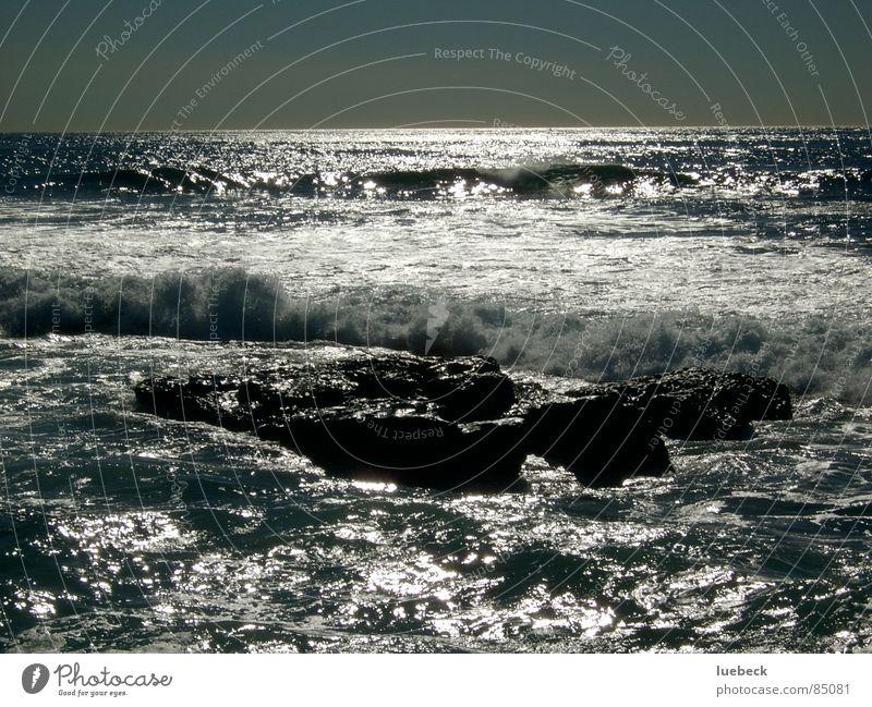 Brandung Wellen Sonnenuntergang Meer Horizont Abend Wasser Felsen Limonade wasser... Abenddämmerung