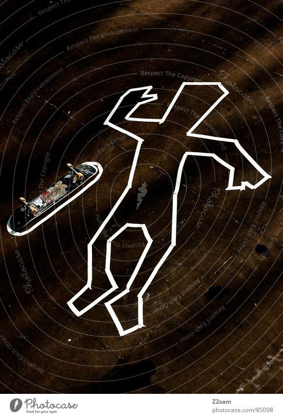 TATORT Mensch Tod Holz Stil Stimmung Beleuchtung Arme liegen Bodenbelag Skateboarding Holzbrett gestreift lässig Rolle kleben Mord