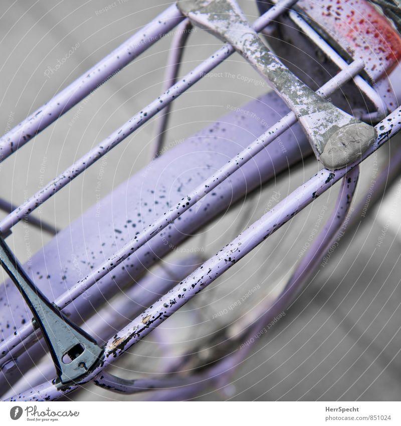Alles Tarnung Fahrradfahren alt violett Gepäckablage Gepäckträger Lack gesprenkelt Farbfoto Außenaufnahme Muster Strukturen & Formen Unschärfe