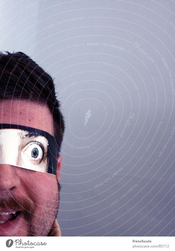 fremde augen 2 geheimnisvoll Spiegel kulleräugig Blick Flirten staunen Mann Auge Maske Kopf Angst Schrecken aktivieren mit glotzaugen anbaggern mit kulleraugen