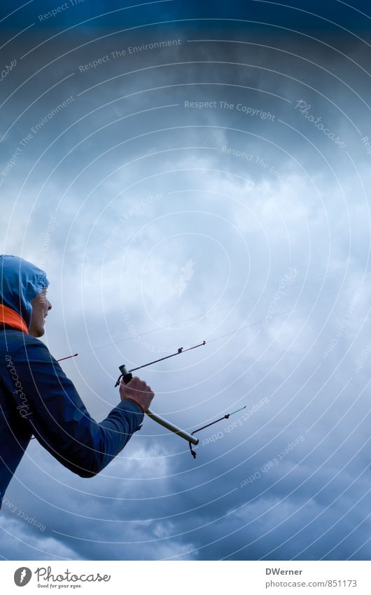 Drachen Abenteuer Sport Kite Lenkdrachen Lenkmatte Mensch maskulin Junger Mann Jugendliche 1 18-30 Jahre Erwachsene Umwelt Natur Himmel nur Himmel Wolken