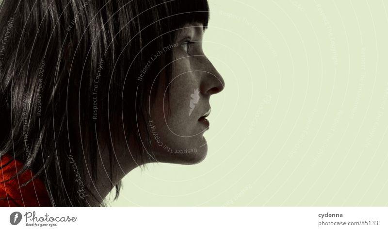Farbe bekennen VII Stil Coolness Gefühle beige rot Haare & Frisuren entdecken Erholung Plüsch mehrfarbig Pornographie Neugier Frau Silhouette Profil Seite
