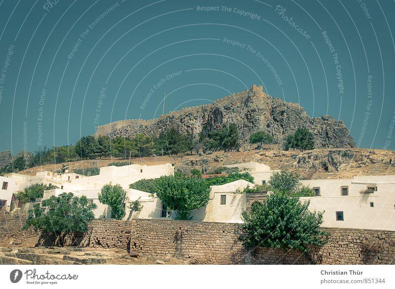 Rhodos / Lindos Natur Ferien & Urlaub & Reisen blau grün weiß Sommer Baum Erholung Ferne Umwelt braun Zufriedenheit Tourismus Ausflug Schönes Wetter Hügel