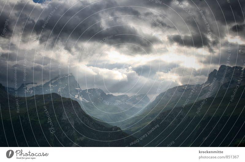 Lichtflut Himmel Natur blau grün Sonne Landschaft Wolken Umwelt Berge u. Gebirge Gras Felsen Horizont wild Wind Klima wandern