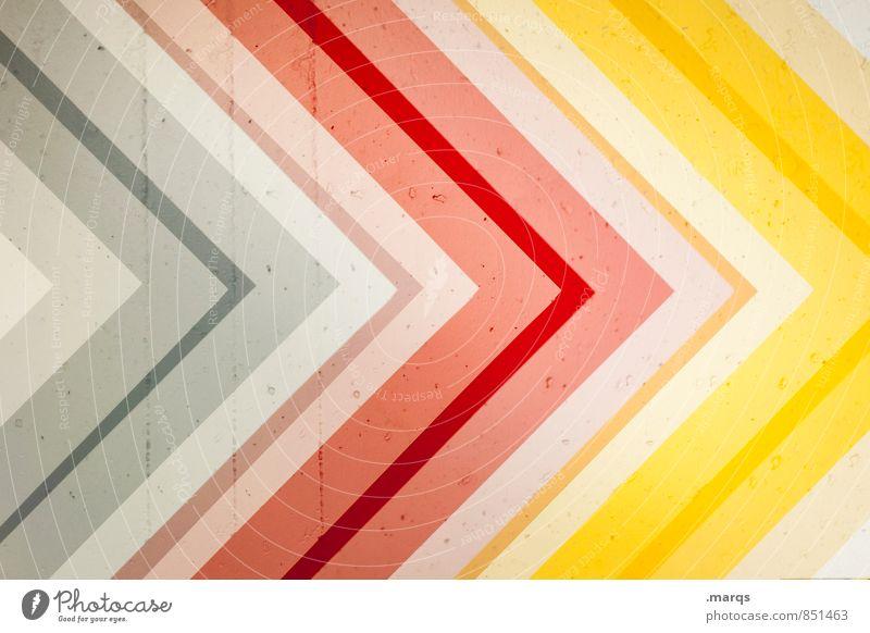 Vorwärts Mauer Wand Beton Pfeil gelb grün rot Farbe Zukunft Orientierung Richtung Farbfoto mehrfarbig Nahaufnahme abstrakt Muster Menschenleer