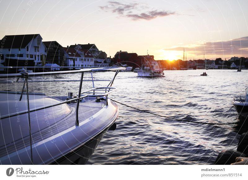 Haugesund Hafen Natur Ferien & Urlaub & Reisen blau Wasser Sommer Sonne Meer Landschaft Umwelt gelb Küste Horizont Freizeit & Hobby Wellen Idylle Abenteuer