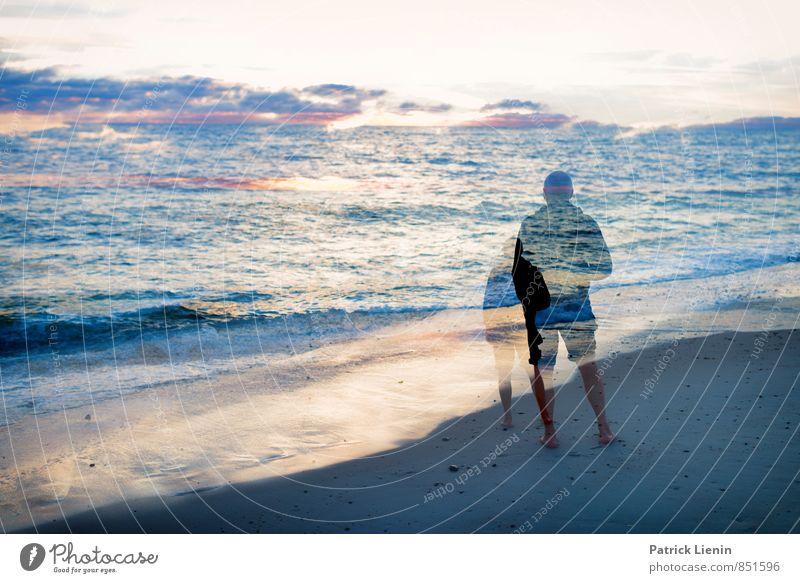 Mit mir am Meer Wellness Leben harmonisch Wohlgefühl Sinnesorgane Mensch maskulin Mann Erwachsene Körper 1 45-60 Jahre Umwelt Natur Landschaft Erde Sand Wasser