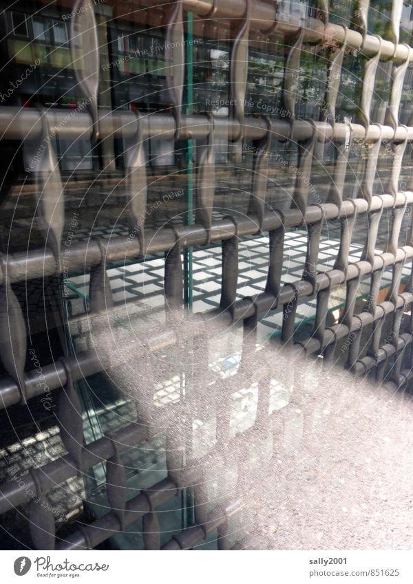 Licht im Grauen... Fenster Metall bedrohlich dunkel gruselig hässlich hell Stadt grau Hoffnung bizarr Einsamkeit Endzeitstimmung kalt Surrealismus Irritation