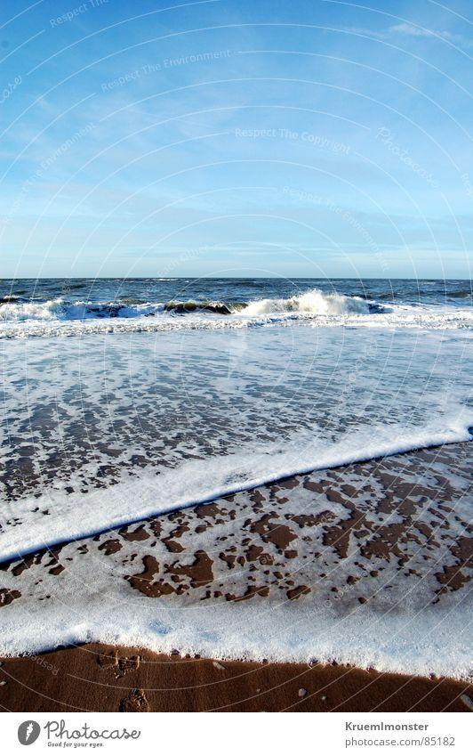 Just Like Heaven Meer Sylt Wellen Himmel Schaum Strand träumen traumhaft schön angenehm Idylle Wolken Fröhlichkeit Winter sea waves blau Blauer Himmel sky blue