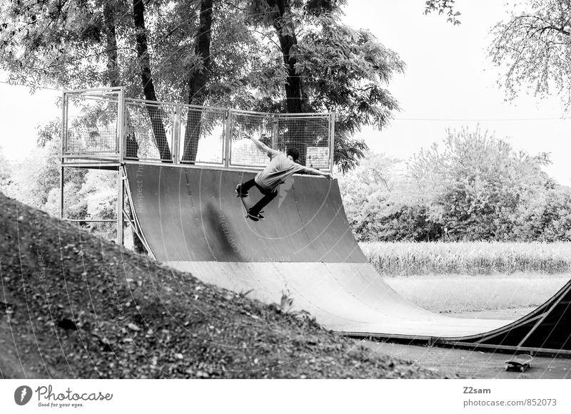 Ollie Jugendliche Stadt Sommer Baum Landschaft 18-30 Jahre Junger Mann Erwachsene Bewegung Sport Stil springen maskulin Freizeit & Hobby Lifestyle elegant