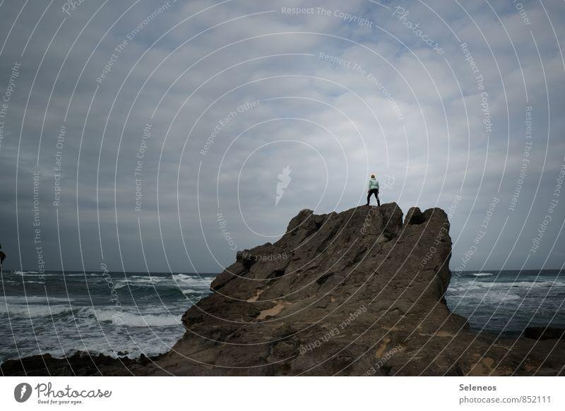Alles meins! Mensch Himmel Natur Ferien & Urlaub & Reisen Wasser Meer Landschaft Wolken Strand Ferne Küste Freiheit Horizont Wellen Tourismus Wind