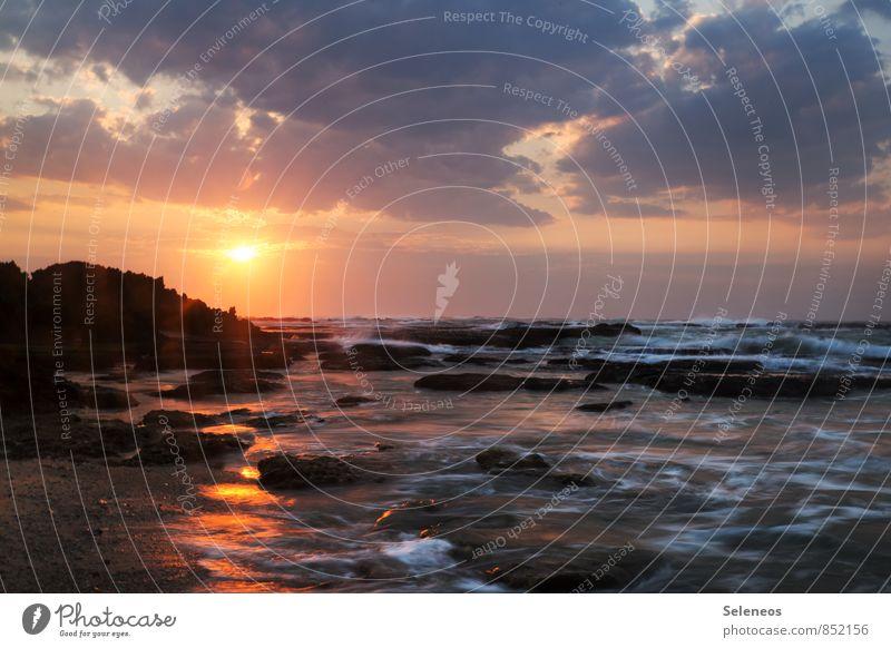 Begrüßungscocktail Himmel Natur Ferien & Urlaub & Reisen Sommer Sonne Erholung Meer Landschaft Wolken Strand Ferne Umwelt Küste natürlich Freiheit Wellen