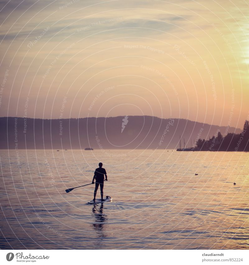 Mann auf See Mensch Natur Wasser Sommer Einsamkeit Erholung ruhig Erwachsene Bewegung Sport Freiheit Freizeit & Hobby maskulin Schönes Wetter