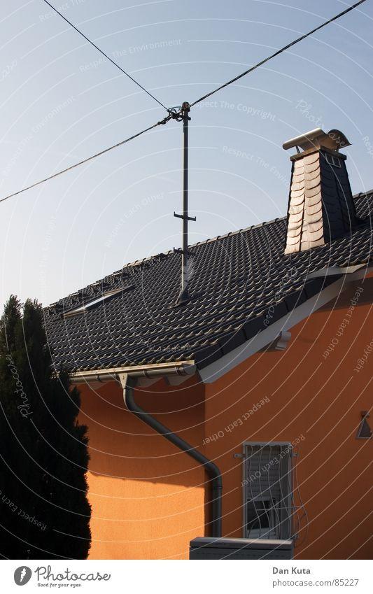 Bauplan vs. Geodreieck rechtwinklig Telefonleitung Geometrie Haus Ecke Dachrinne frisch Glaube modern Schieferdach Fallrohr mit Knick 45 Fieber 90° 45°