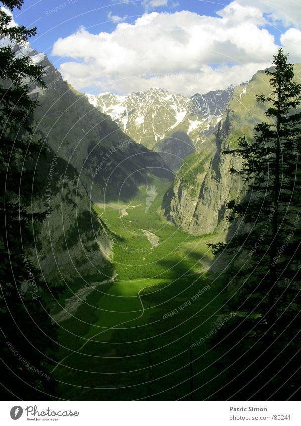 Bergtal in der Schweiz grün Wiese verdunkeln Talsohle Himmel Schatten Grünfläche Sommer Berge u. Gebirge Tanne Wege & Pfade Weide Straße Firmament waldiges tal