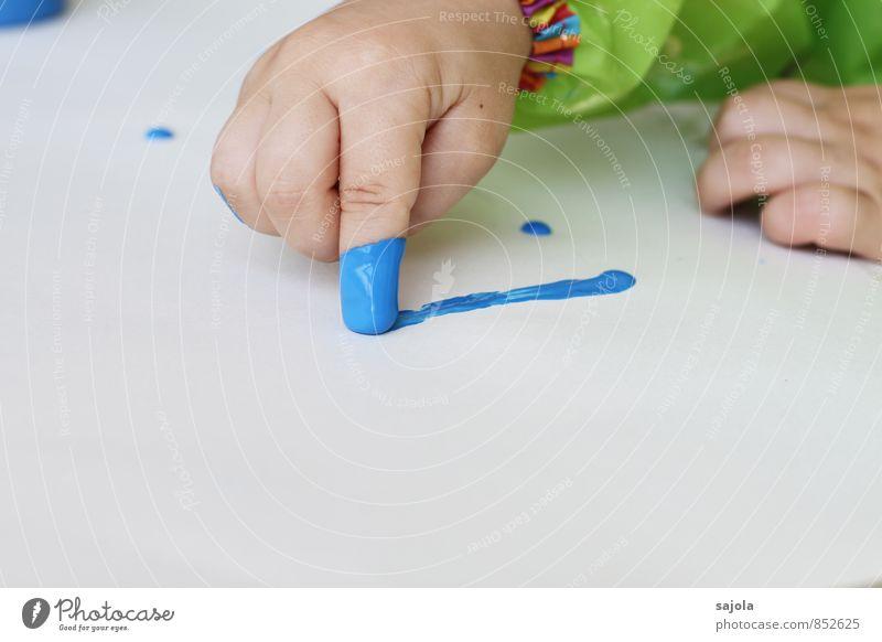 kleckserei - der erste strich Freizeit & Hobby zeichnen Mensch androgyn Kind Kleinkind Hand Finger 1 1-3 Jahre Kunst Künstler Maler blau weiß Freude