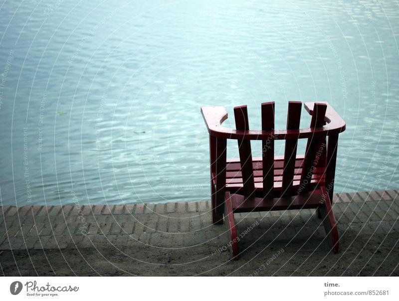 runterkommen Ferien & Urlaub & Reisen Wasser Erholung ruhig Holz Schwimmen & Baden Stein Stimmung Park Wellen Zufriedenheit Pause Seeufer Stuhl Möbel Wohlgefühl