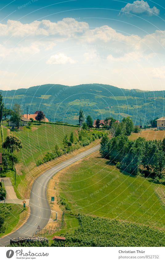 Hügelland Himmel Natur Ferien & Urlaub & Reisen blau grün Sommer Wolken Umwelt Berge u. Gebirge Gras grau Sand braun Erde Zufriedenheit wandern