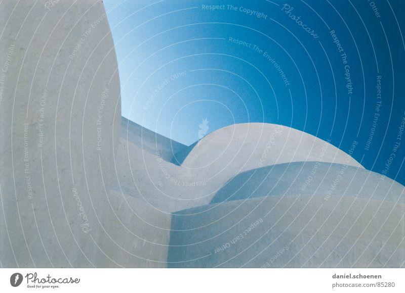 Griechenland abstarkt Himmel Haus kalt Hintergrundbild Fassade Europa Kreis Dach Quadrat zyan Santorin