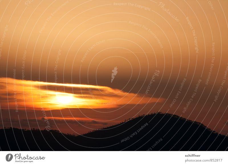 Goldrausch Landschaft Himmel Wolken Sonnenaufgang Sonnenuntergang Klima Schönes Wetter Hügel Berge u. Gebirge gelb gold orange schwarz Dämmerung Sonnenenergie