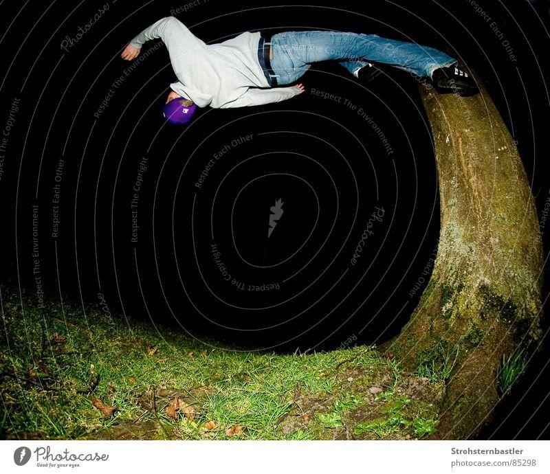 Backflip Baum Sport verrückt rennen Geschwindigkeit Kleid Seele Akrobatik Fischauge Extremsport Rückwärtssalto