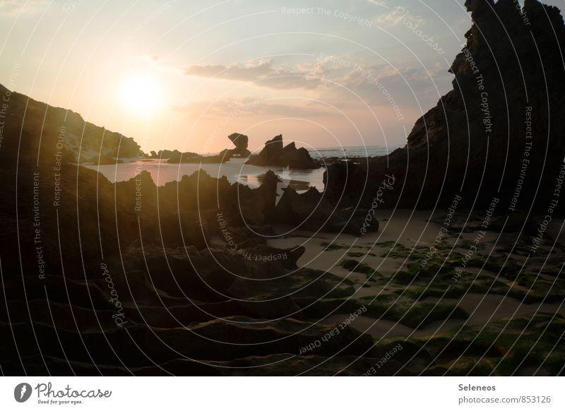 Durchbruch Himmel Natur Ferien & Urlaub & Reisen Wasser Sommer Sonne Meer Landschaft Wolken Strand Ferne Umwelt Küste natürlich Freiheit Felsen