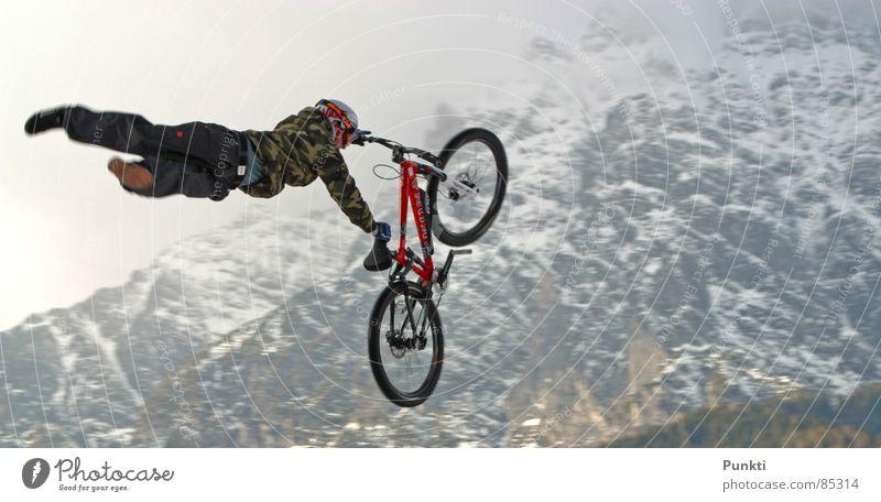 Supermann Sport Schnee Spielen Berge u. Gebirge fliegen Held Mountainbike