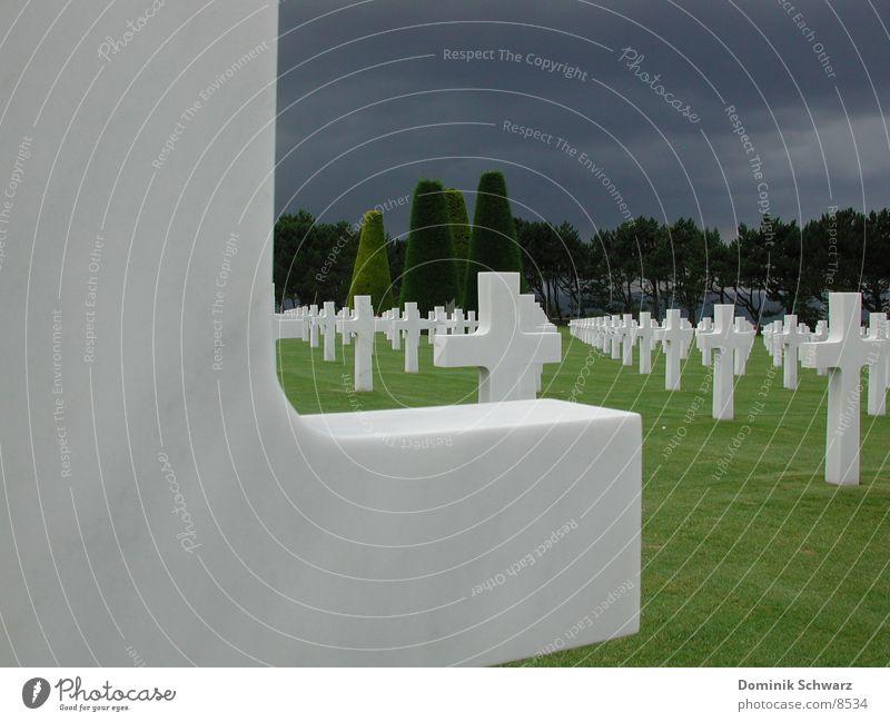 60 Jahre später Tod Rücken Trauer Weltkrieg Amerika Frankreich historisch Soldat Erinnerung Christentum Friedhof Grab erinnern Ehre Grabstein Normandie